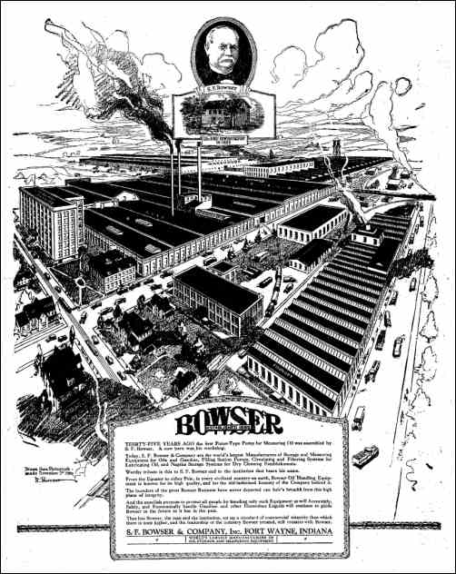 A panoramic view of the Bowser factory in Fort Wayne, Indiana, taken from a newspaper advertisement in 1921