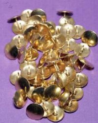 A collection of brass tacks; in Britain they would be called drawing pins