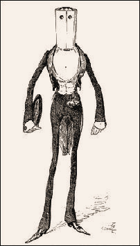 A US cartoon of 1888, showing a dude with a collar so high it completely obscures his face.
