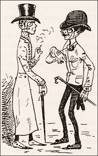 A US cartoon of 1883, showing two New York dudes in conversation.