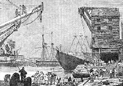 An old photo of docks