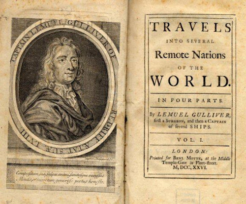 The title page of the first edition of 'Gulliver's Travels'