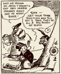 A frame from a 1923 Barney Google strip showing Barney and Spark Plug