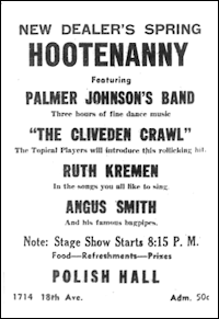An advertisement for a hootenanny from the Washington New Dealer