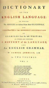The title page of volume one of Johnson's Dictionary