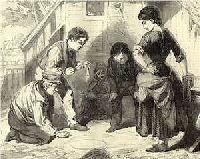 A group of four boys playing marbles with an older girl watching.