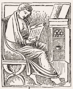 Woodcut of a man reading a scroll