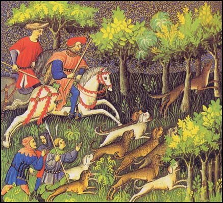 Horsemen and houses during a medieval hunt.