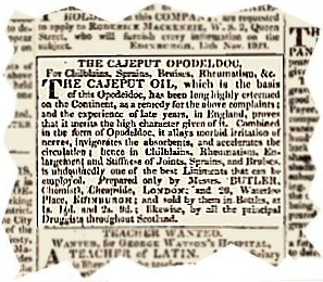 An advertisement for the Cajeput Opodeldoc