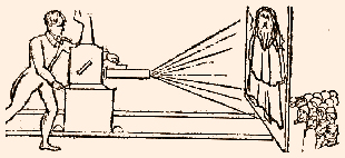 a line drawing of the Phantasmagoria's projection apparatus