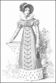 A regency lady carrying a reticule.