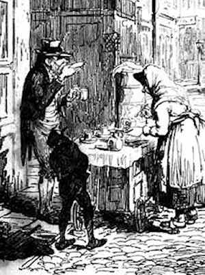 An extract from a George Cruickshank engraving showing a man saucering his tea