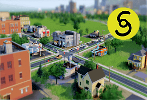SimCity scene with simoleon symbol.