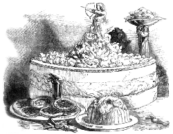 An engraving of a standing pie