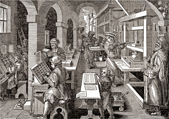 Interior of a Dutch printing shop of the 1700s