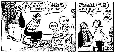 Only the second strip of Thimble Theater to mention Eugene the Jeep (the first was the day before).