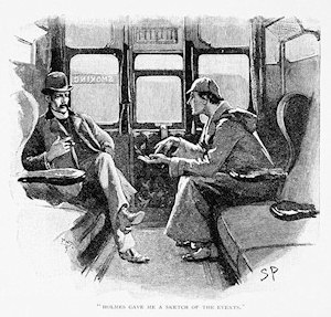 Sherlock Holmes explaining the situation to Dr Watson in a railway carriage