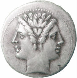 A Roman coin, featuring the two faces of Janus