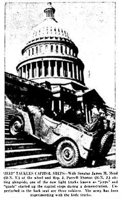 The Jeep in action, climbing the Capitol steps in Washington.