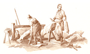 Tanners at work, from 'Microcosm' by W H Pyne, 1808